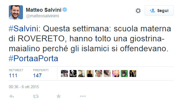 Tweet di Salvini